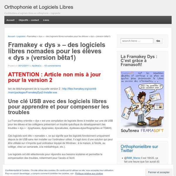Framakey «dys – des logiciels libres nomades pour les élèves «dys (version bêta1)