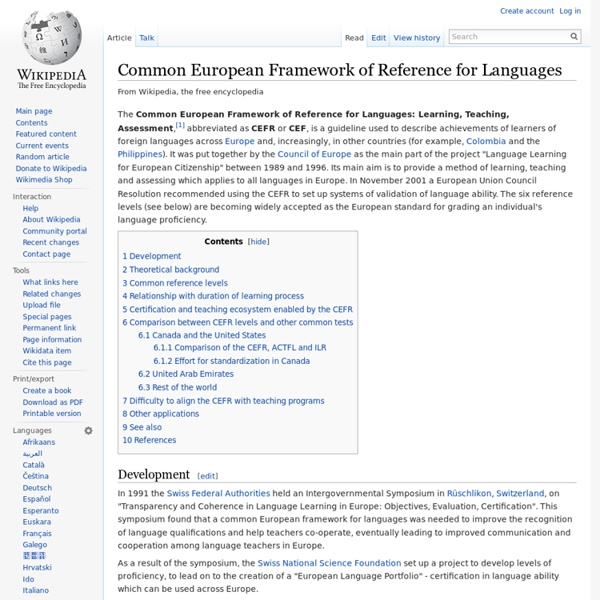 Common European Framework of Reference for Languages
