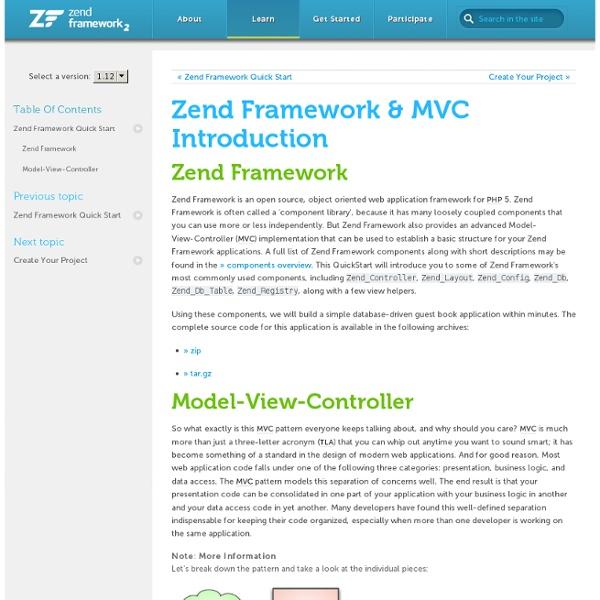 Zend Framework & MVC Introduction - Zend Framework Quick Start