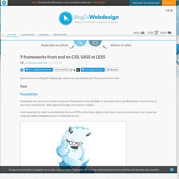 9 frameworks front end en CSS, SASS et LESS