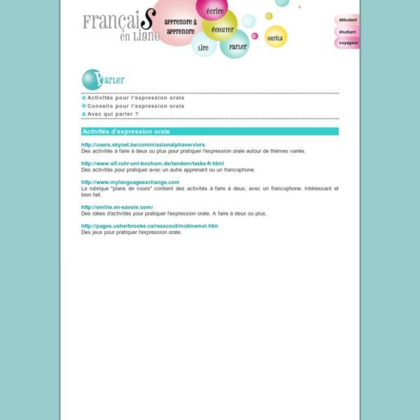 Activités pour l'expression orale