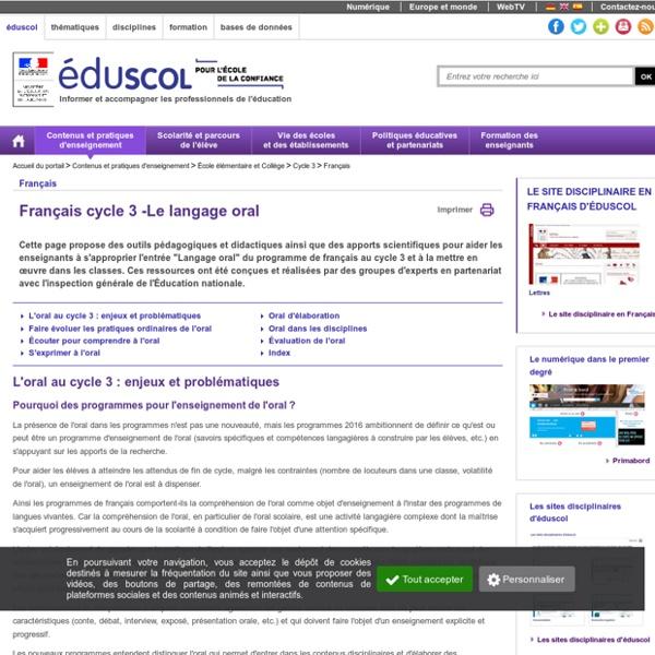 Ressources d'accompagnement - Français cycle 3 - Le langage oral