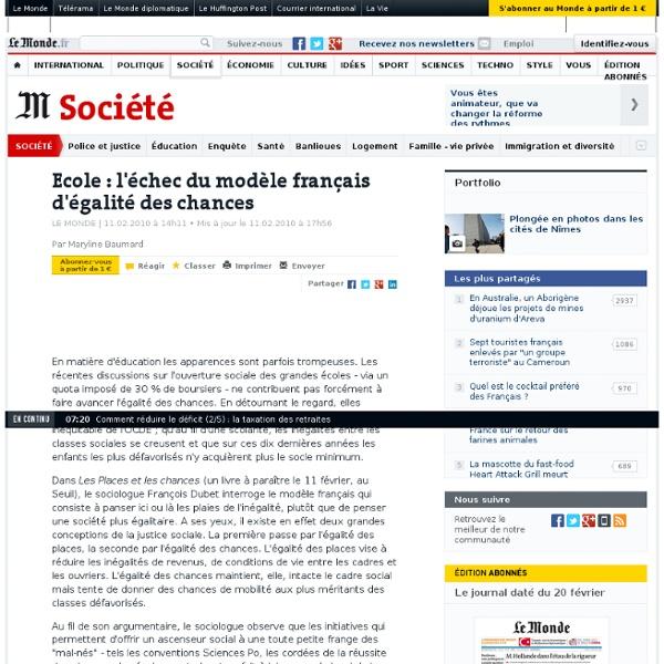 Ecole : l'échec du modèle français d'égalité des chances