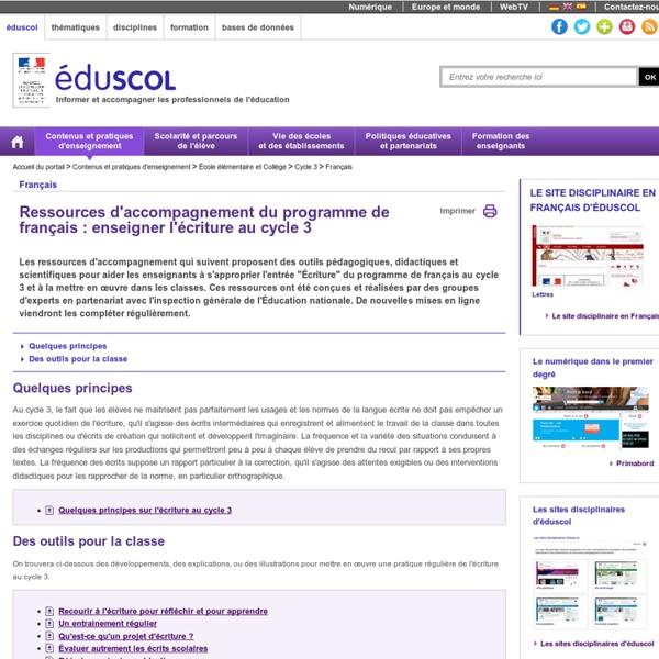 Ressources français C3 : écriture