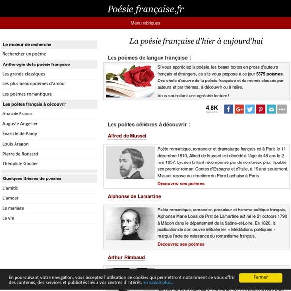 Poésie française - 5875 poèmes français célèbres