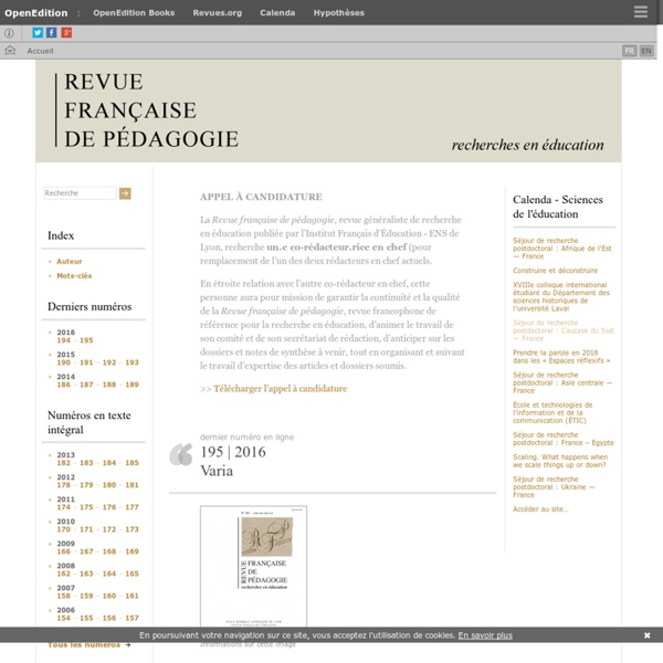 Revue française de pédagogie - Recherches en éducation