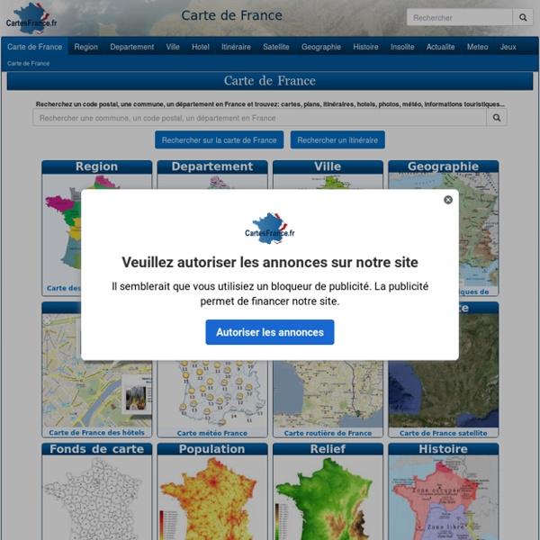 CARTE DE FRANCE : Départements Régions Villes - Carte France
