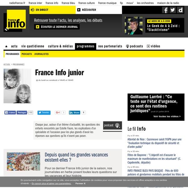 FRANCE INFO JUNIOR, les questions des enfants sur l'actualité