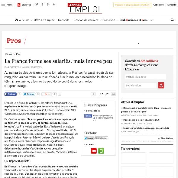 La France forme ses salariés, mais innove peu
