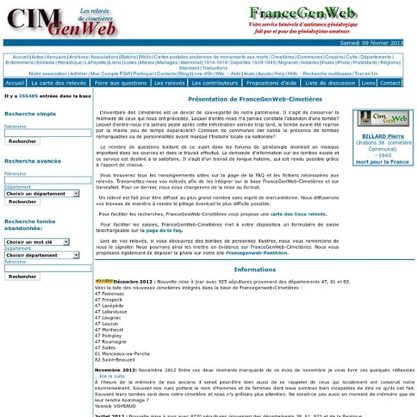 FranceGenWeb-Cimetières: Les relevés de cimetières