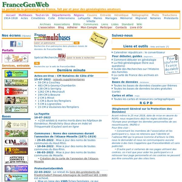 FranceGenWeb - Le portail de la généalogie en France