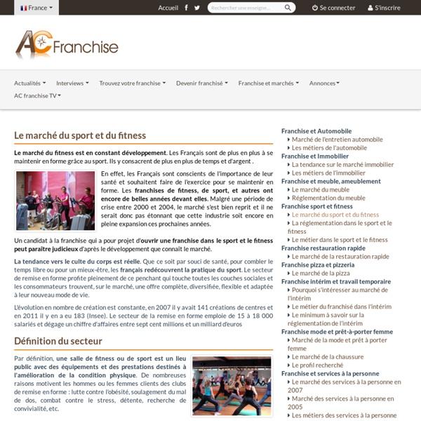 Franchise sport et fitness / Le marché du sport et du fitness