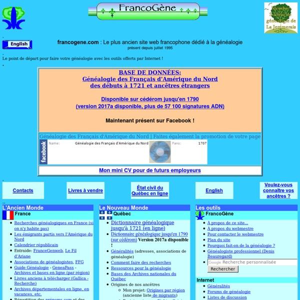 FrancoGene : Le Portail de la généalogie francophone dans Internet