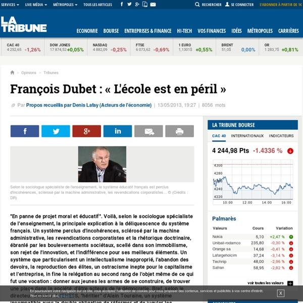 François Dubet : « L'école est en péril »