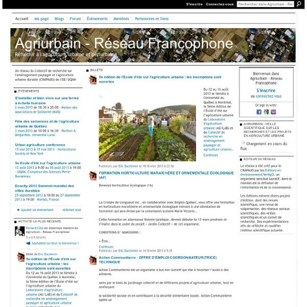 Agriurbain - Réseau Francophone - Réfléchir à l'agriculture urbaine et périurbaine
