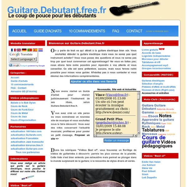 Guitare Débutant - Portail francophone des guitaristes débutants : Comparatifs, Guide d'achats, Conseils.