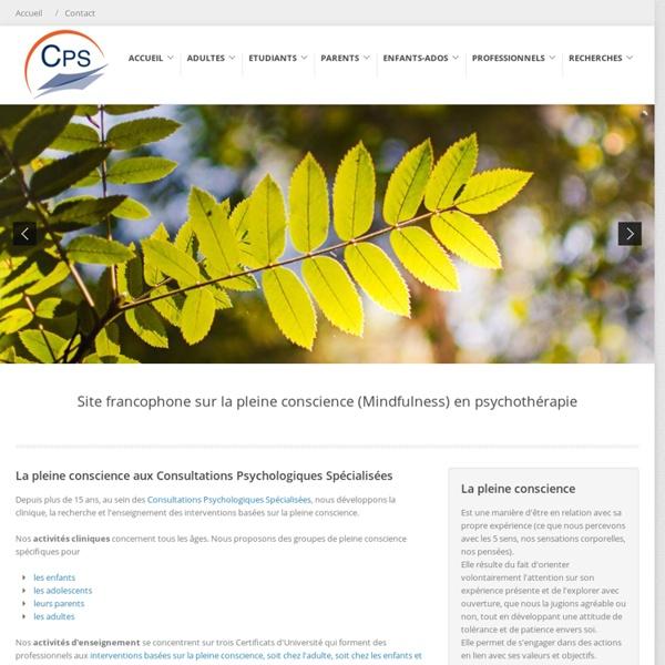 Site Francophone sur le Pleine-Conscience (Mindfulness) en Psychothérapie