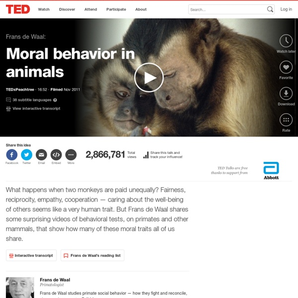 Frans de Waal: Moral behavior in animals