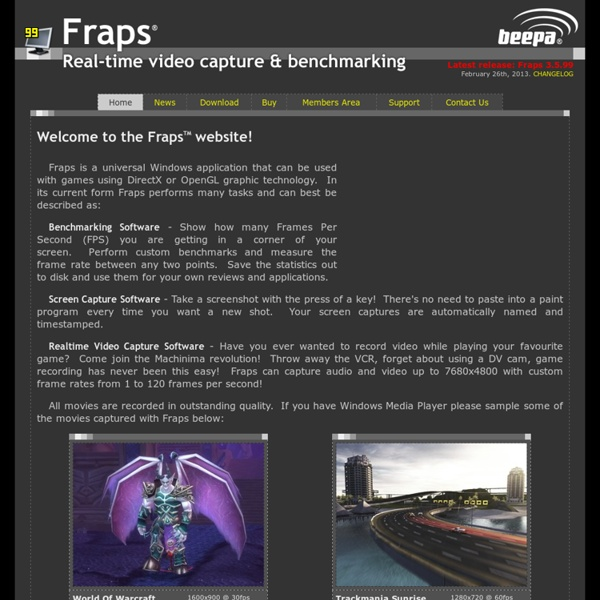 FRAPS show fps, record video game movies, screen capture software