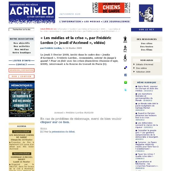 2009 - « Les médias et la crise »