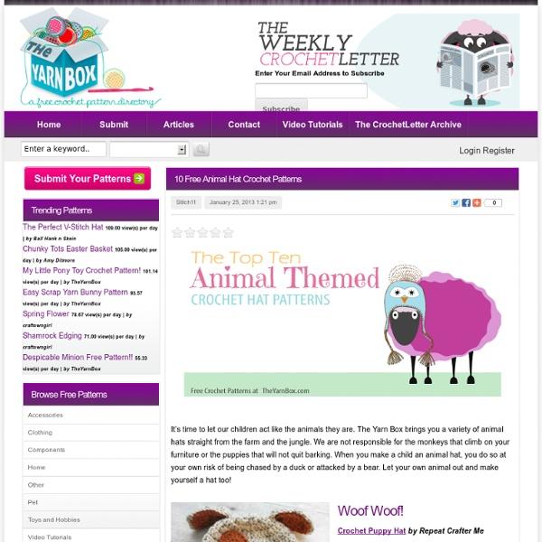 10 Free Animal Hat Crochet Patterns « The Yarn Box