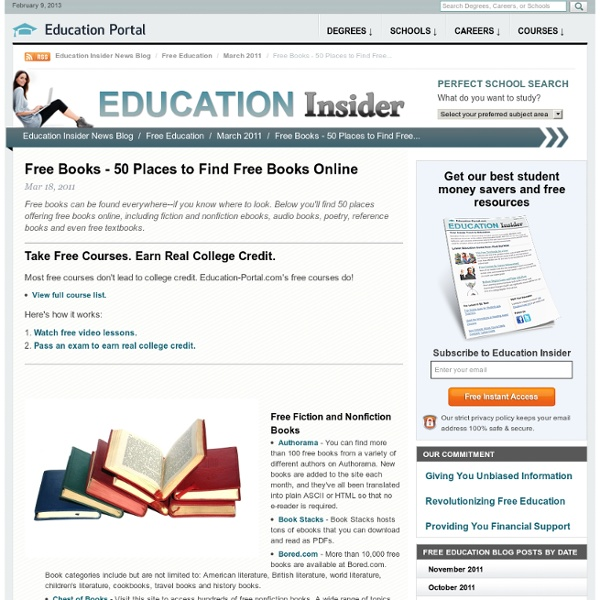 Free Books - 50 Places to Find Free Books Online