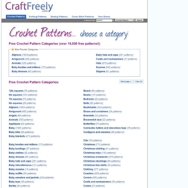 Free Crochet Patterns by category - Over 11,000 Free Crochet Patterns plus Knit Patterns