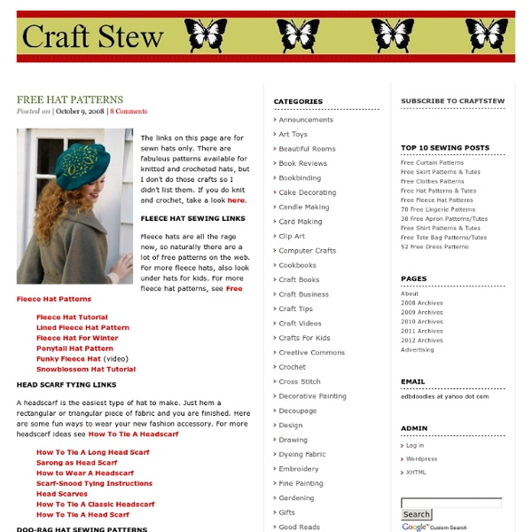 Free Hat Patterns, Scarf Tying, Online Millinery Books