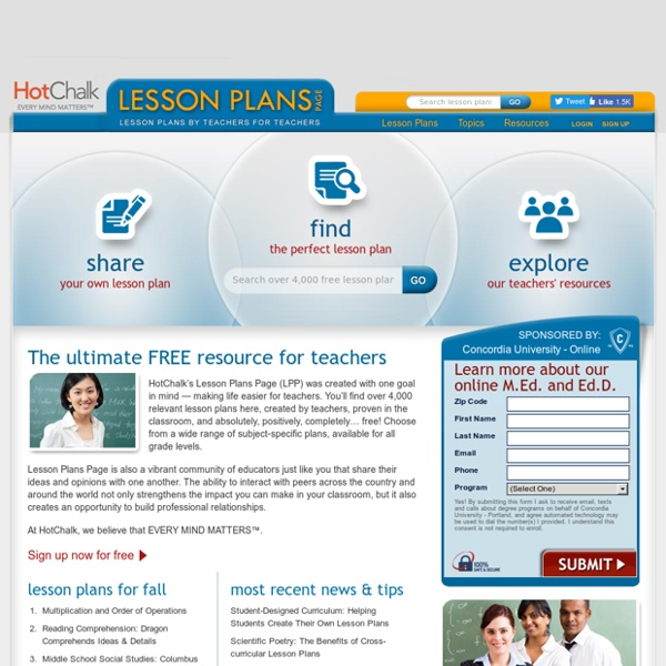 Free Lesson Plans For Teachers, By Teachers