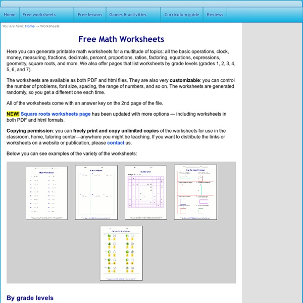 Free Math Worksheets generate math worksheets for basic – Basic Math Worksheets Pdf