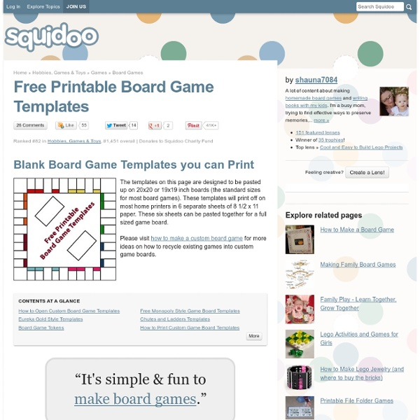 Free Printable Board Game Templates | Pearltrees