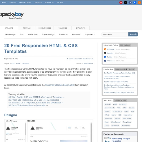 20 Free Responsive HTML & CSS Templates | Pearltrees