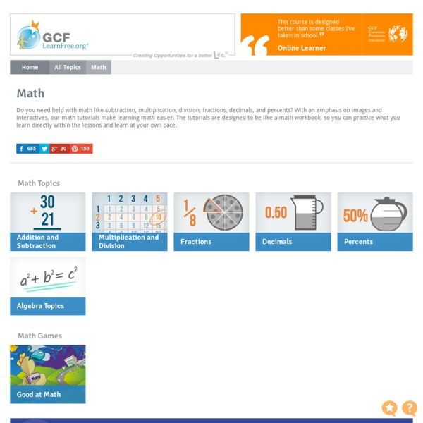 Free Math Tutorials at GCFLearnFree