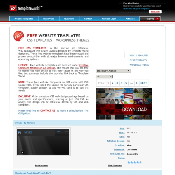 Free Website Templates, XHTML CSS Templates - Template World ...