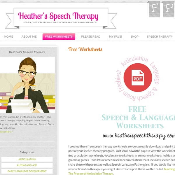 Free Worksheets « Heather's Speech Therapy