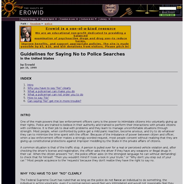 Freedom Vaults : Guidelines for Saying No to Police Searches