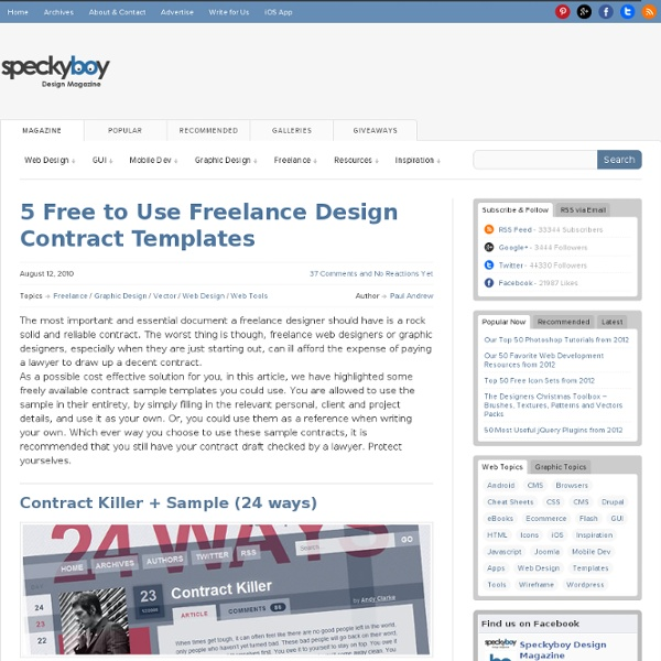 5 free freelance design contract templates pearltrees