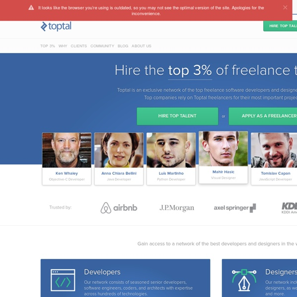 Hire the top 3% of freelance developers, designers, and other tech talent.