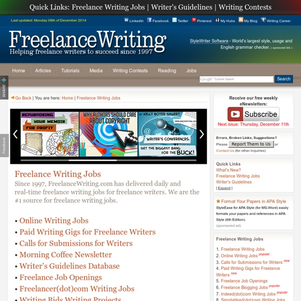 S FREELANCE WRITING JOBS : FIND FREELANCE WRITING JOBS