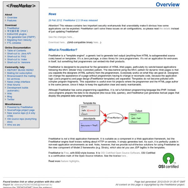 FreeMarker: Java Template Engine Library - Overview | Pearltrees