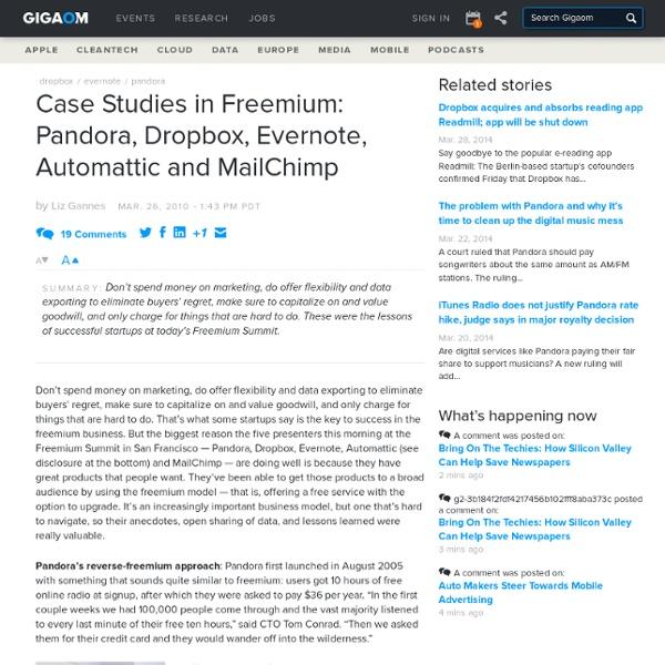 Case Studies in Freemium: Pandora, Dropbox, Evernote, Automattic
