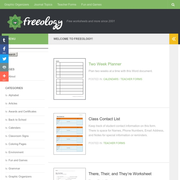 Freeology - Free worksheets and more since 2001
