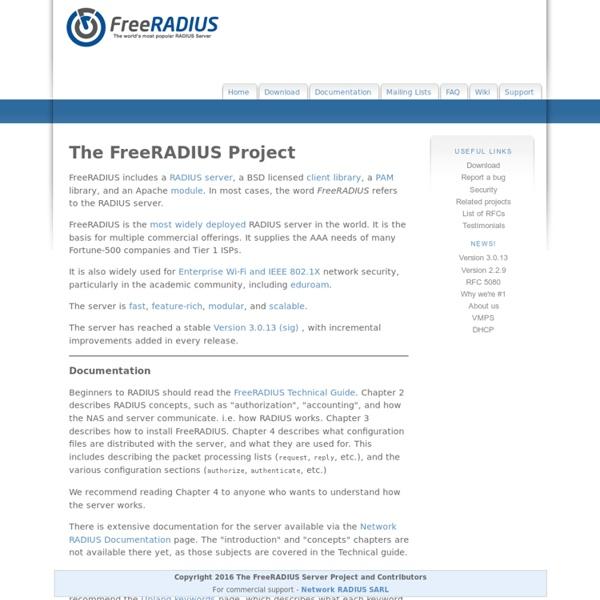 FreeRADIUS: The world's most popular RADIUS Server | Pearltrees