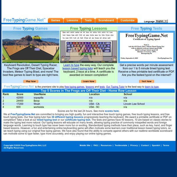FreeTypingGame.net - Free typing games online, fun and lesson based keyboarding games including home row!