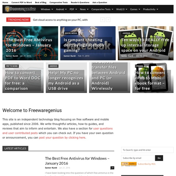 Freewaregenius.com - Freeware reviews and downloads, featuring the coolest, best free software