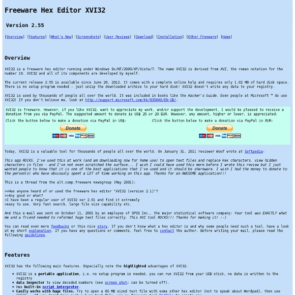 Freeware Hex Editor XVI32