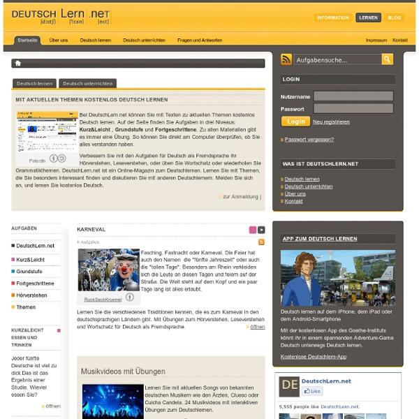 Deutsch als Fremdsprache - Deutsch lernen online mit interaktiven Aufgaben