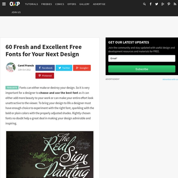 60 Fresh and Excellent Free Fonts for Your Next Design