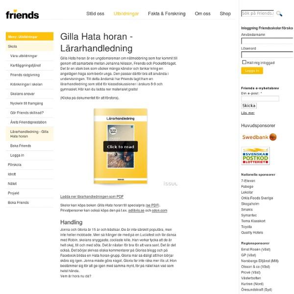 Gilla Hata horan - Lärarhandledning