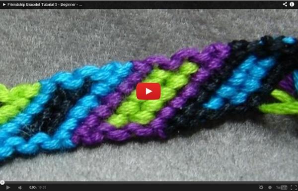 Friendship Bracelet Tutorial 5 Beginner Bordered Rhomboid
